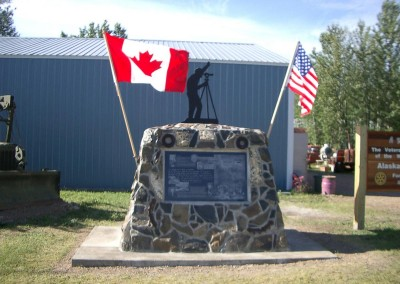 Fort Nelson Historical Monument celebrating the construction of the Alaska Highway